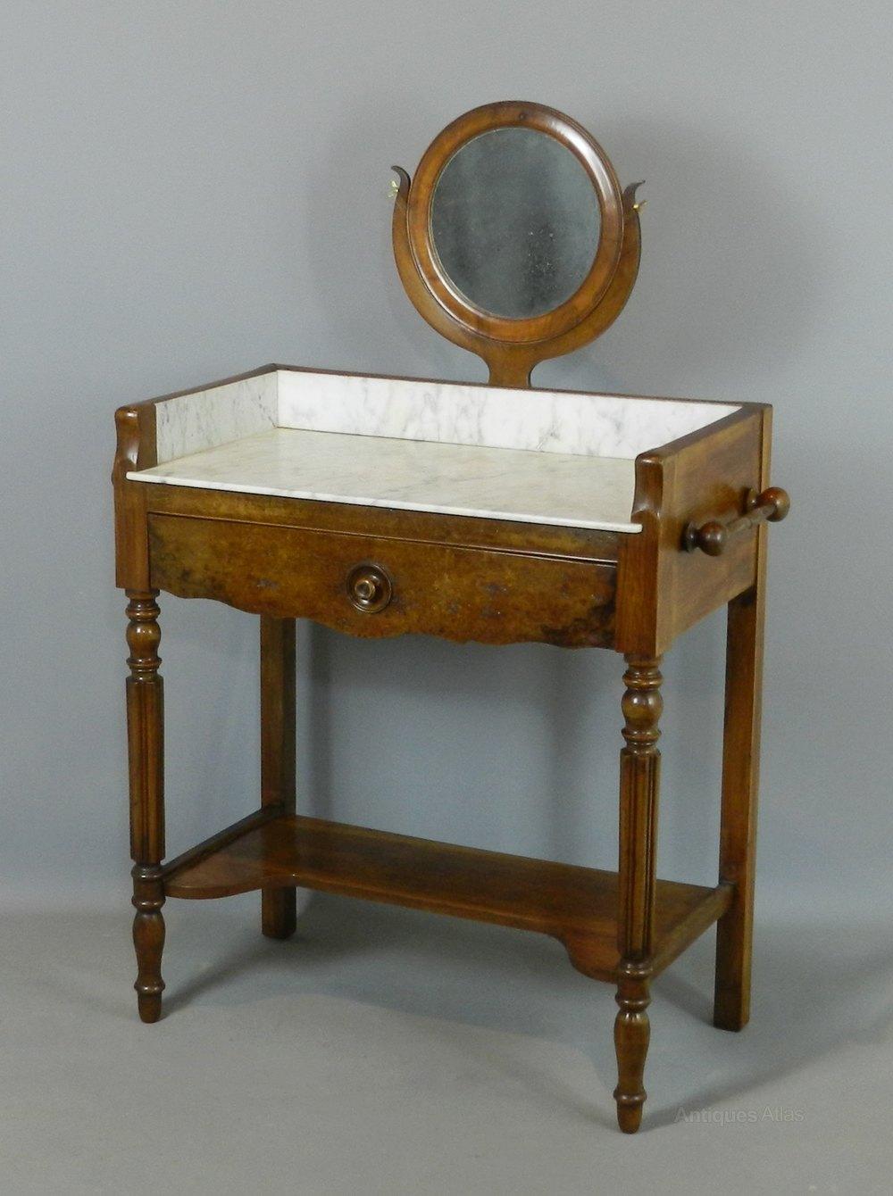 Antique French Walnut Washstand With Mirror Washstands
