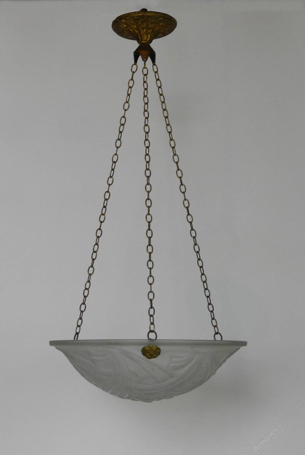 French Art Deco Ceiling Light Negra Dégué Antique Hanging Lights