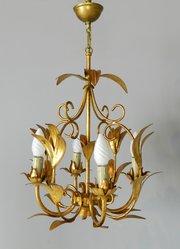 Marvelous  ChandelierSturmans Antiques Ltd French Gilt Toleware Foliage C