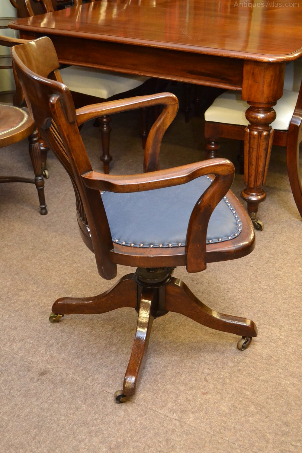 vintage swivel chairs mahogany swivel desk chair c1900 antiques atlas 3259