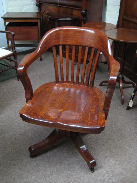 Oak Swivel And Tilt Desk Chair