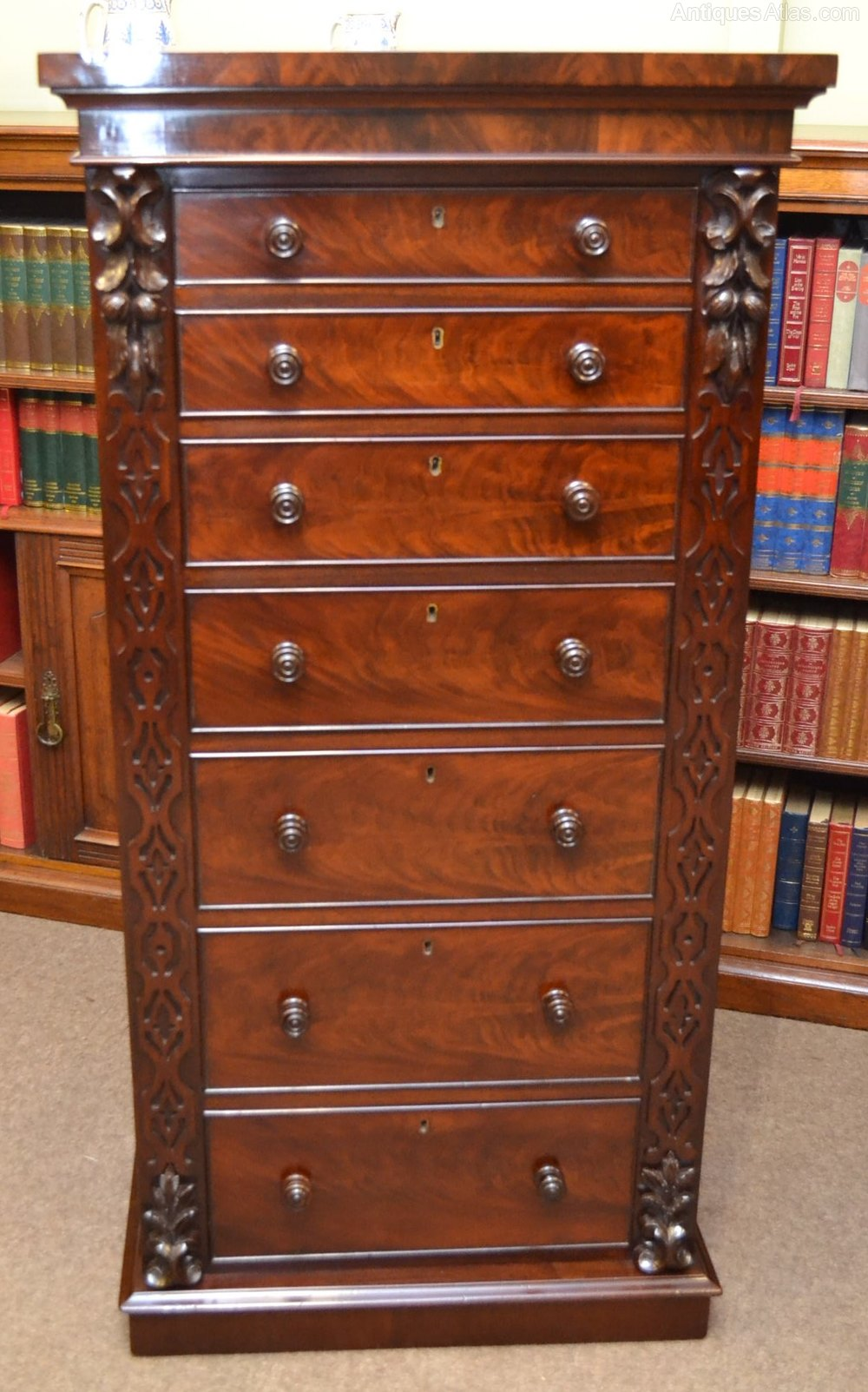 tall mahogany chest of drawers c1870 antiques atlas. Black Bedroom Furniture Sets. Home Design Ideas
