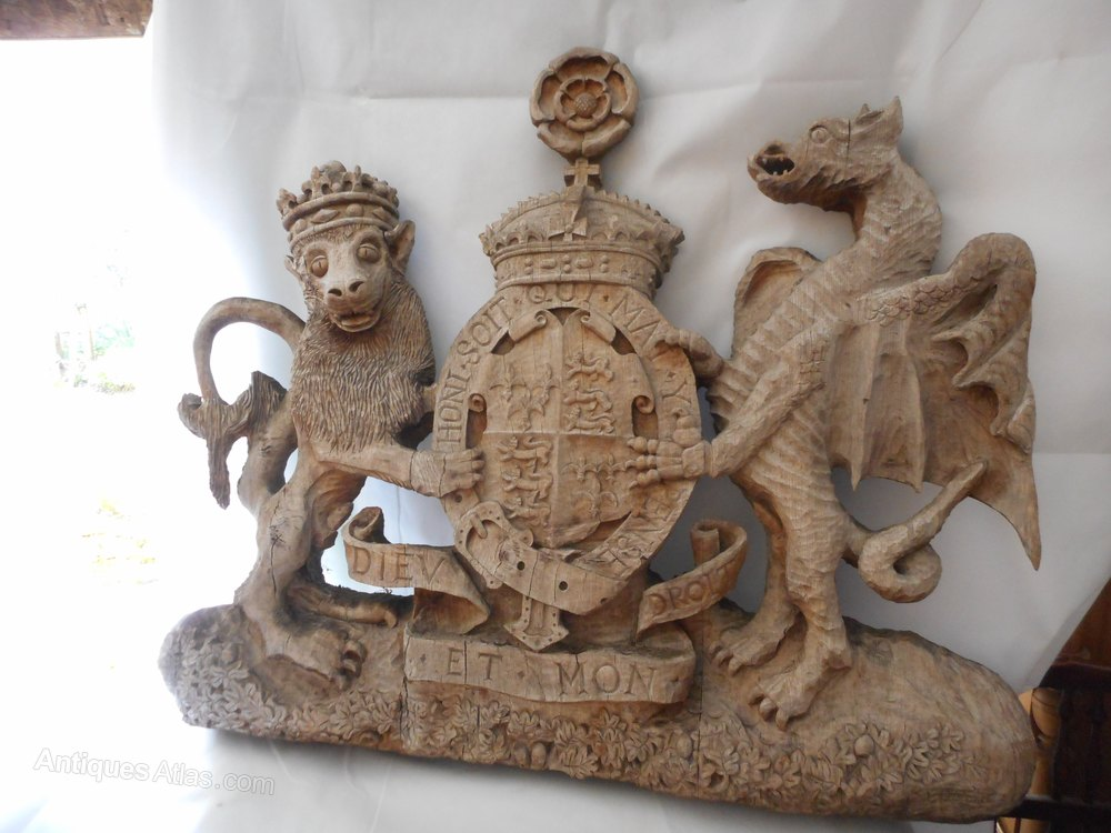 Antiques Atlas Armorial Carving Heraldic Lion And Dragon