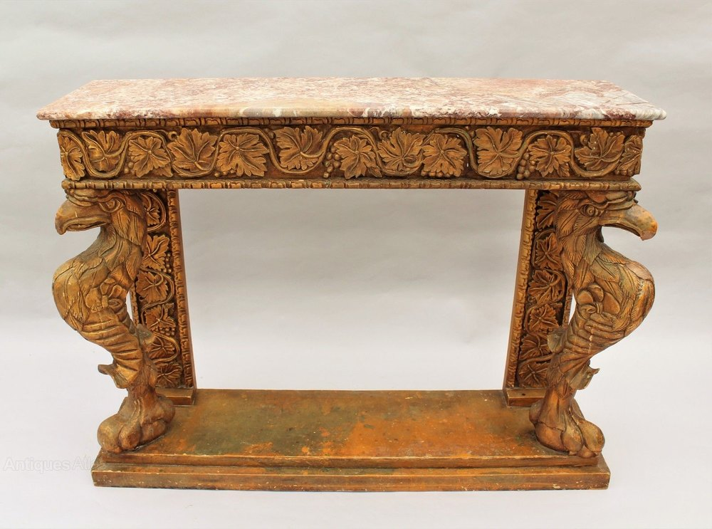19th Century Giltwood Amp Marble Console Table Griffins