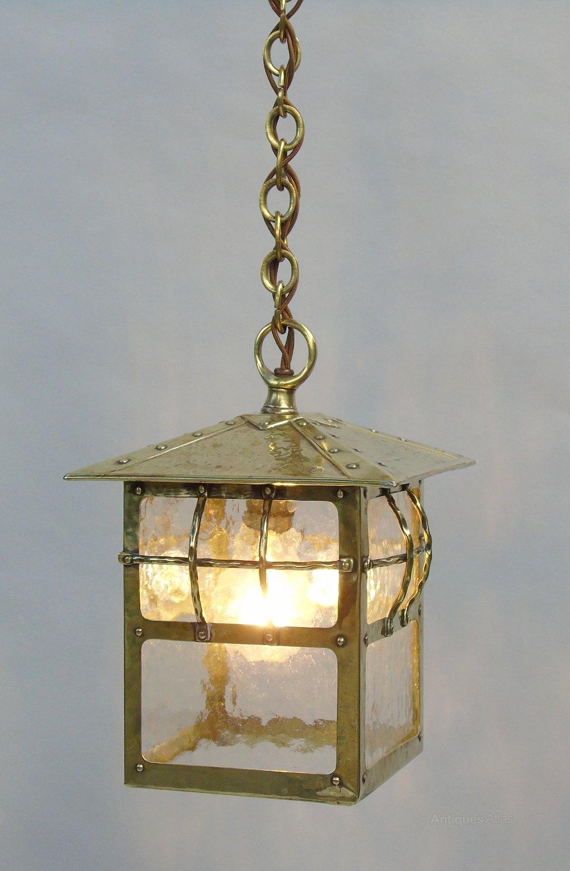 Antique Br Arts Crafts Hall Light