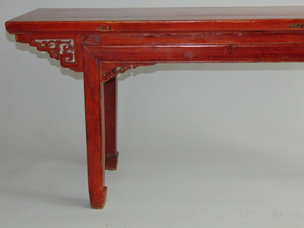 Antique Chinese Red Lacquer Long Bench Stool T Benches Low Table