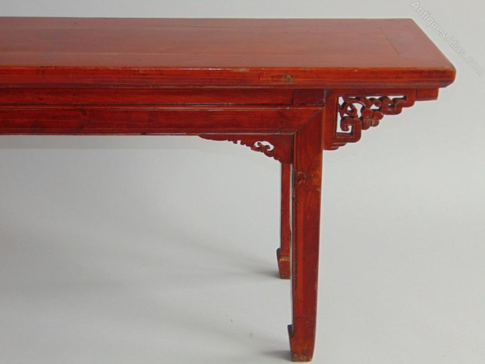 Antique Chinese Red Lacquer Long Bench Stool T Benches Low Table Oriental