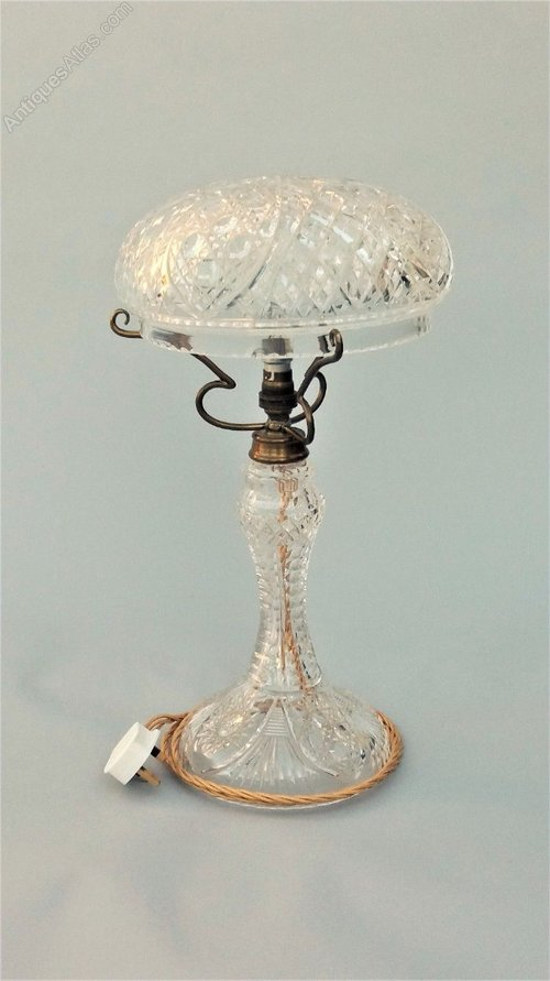 Antique cut glass crystal table lamp