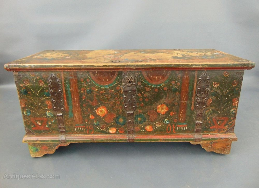 Antique Hand Painted Swedish Chest / Coffer ... - Antique Hand Painted Swedish Chest / Coffer - Antiques Atlas
