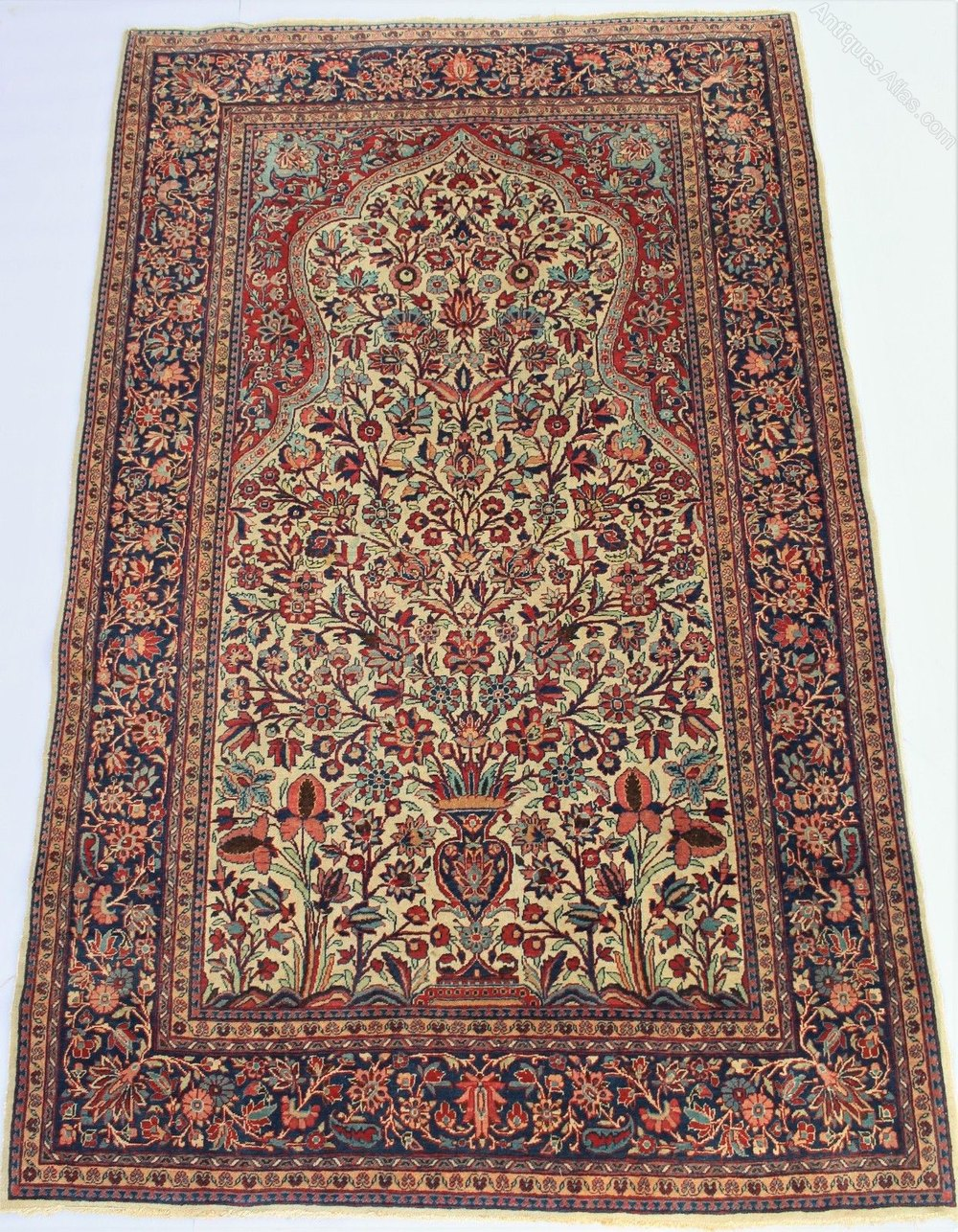 Antique Kashan Prayer Rug Tree Of Life