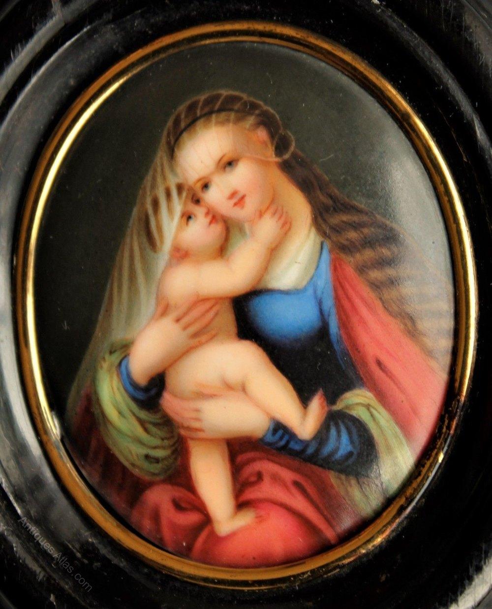 Antiques Atlas Antique Painting On Porcelain Madonna And