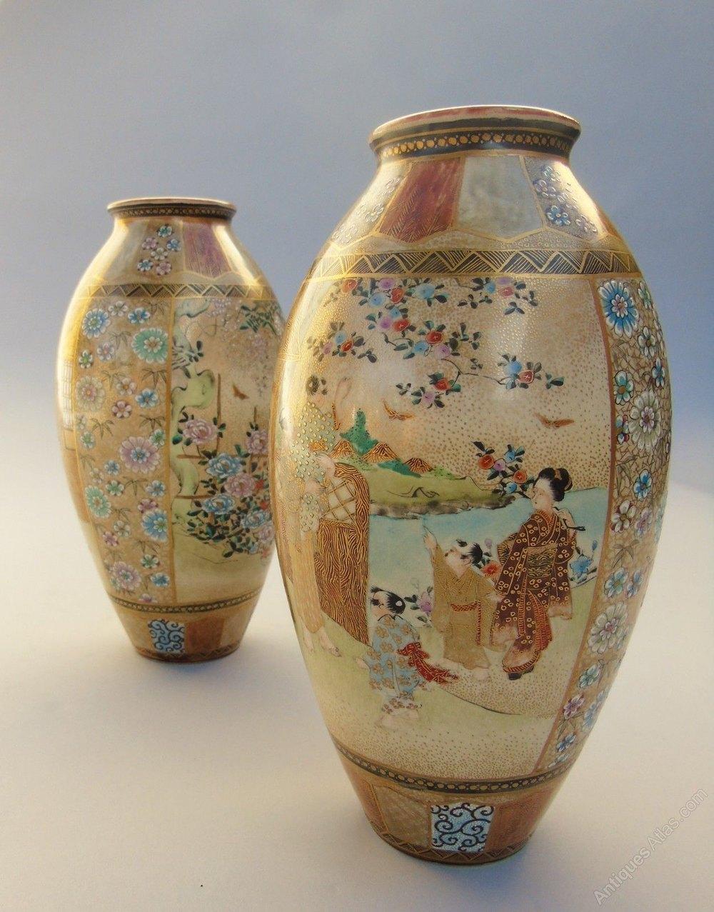 Antiques Atlas - Antique Pair Japanese Satsuma Vases By
