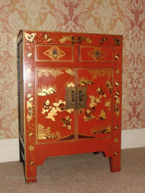 Chinese Red Lacquered Cabinet ...