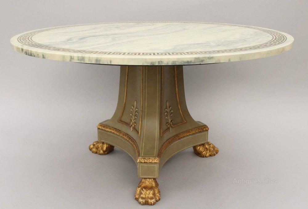 Elegant Regency Period Coffee Table Marble Top