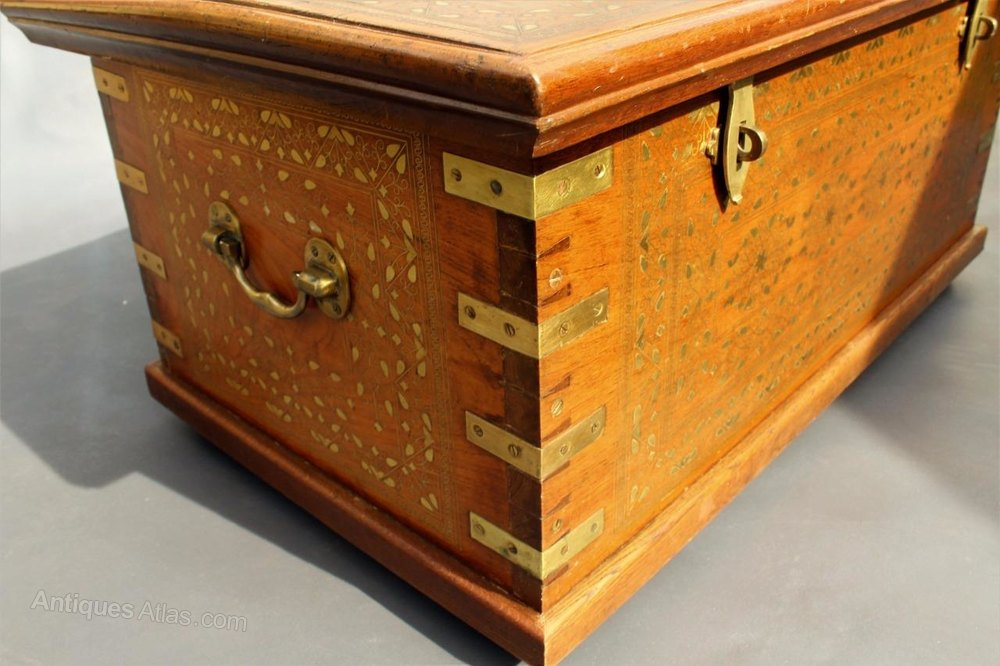Fabulous Large Indo Persian Hard Wood Chest Brass