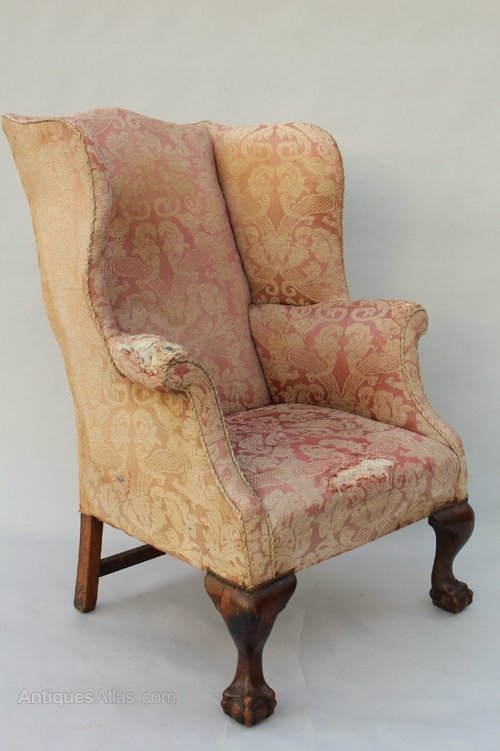 George III Style Antique Wingback Armchair Antique Wicker Chairs ... - George III Style Antique Wingback Armchair - Antiques Atlas