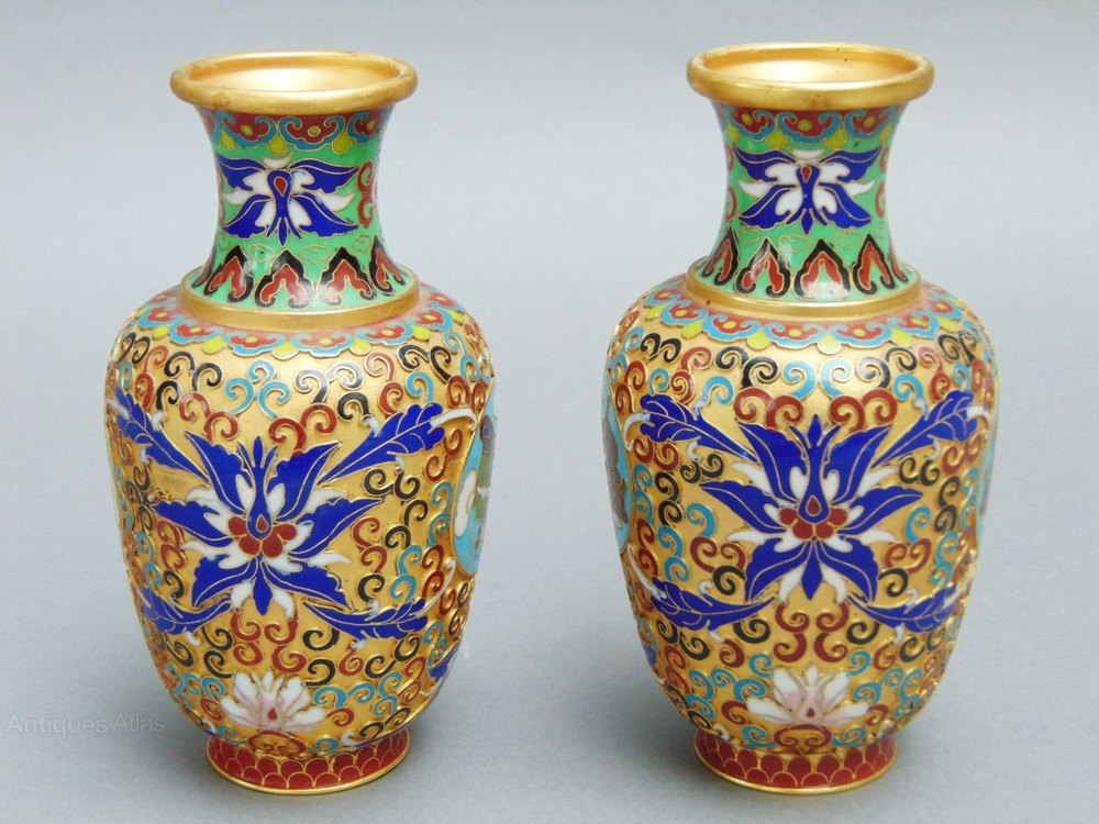 Antiques Atlas Pair Of Chinese Cloisonne Vases Early 20th Century