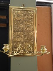 Aesthetic movement brass candle sconce