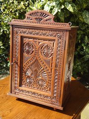 Anglo Indian carved wall cupboard