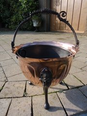 Arts & Craft copper and wrought iron coal bucket