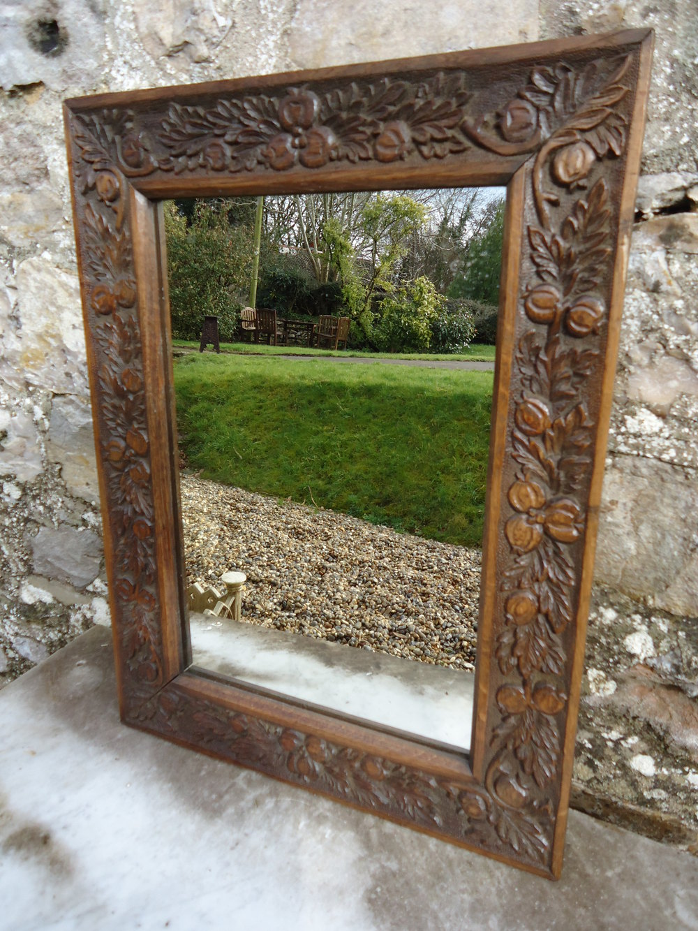 Arts and crafts mirrors - Arts Crafts Carved Oak Mirror With Seed Pods