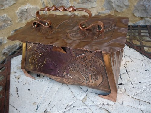 Excellent Antiques Atlas Arts Crafts Celtic Copper Casket With Dragons Bralicious Painted Fabric Chair Ideas Braliciousco