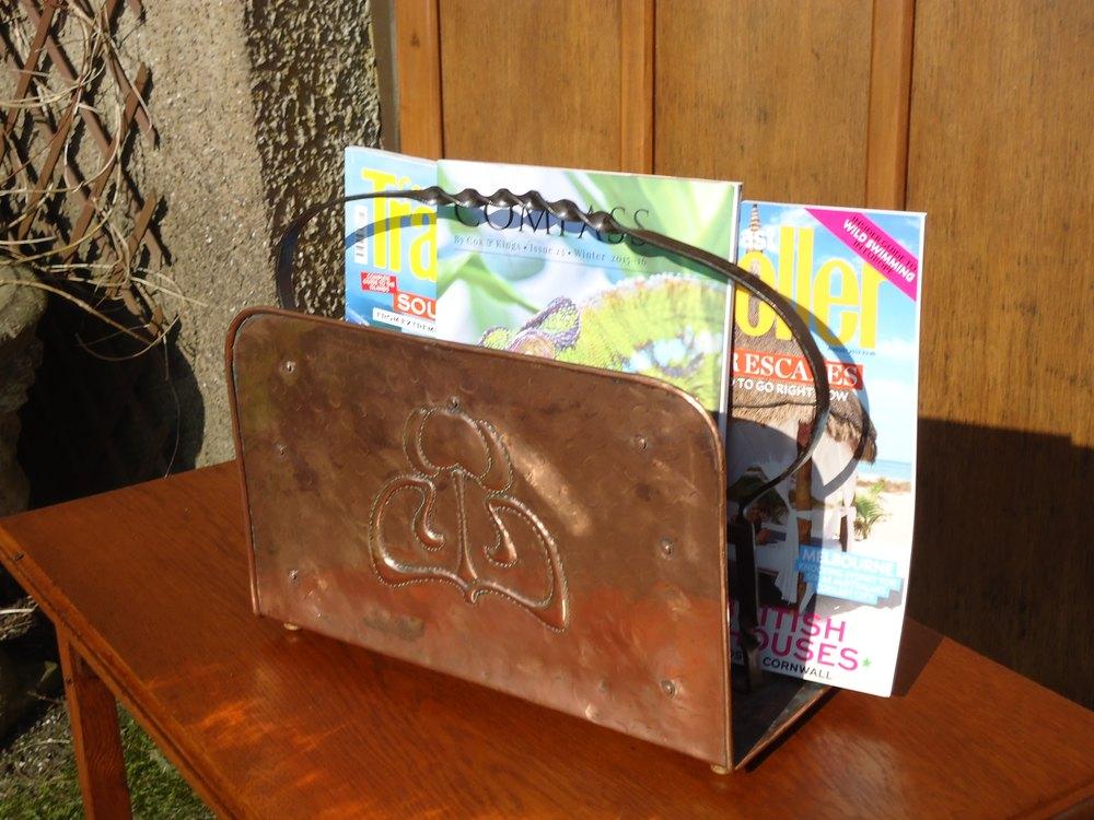 Arts Crafts Cornish School Copper Magazine Rack