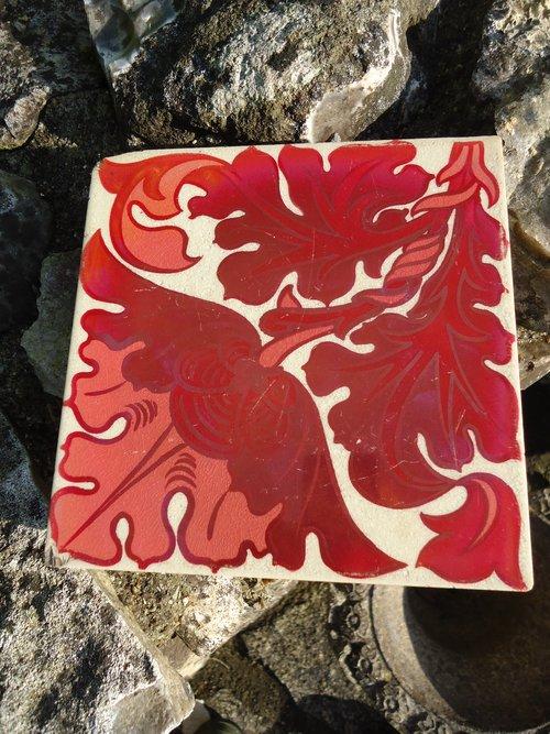Arts & Crafts Craven Dunnill lustre floral tile