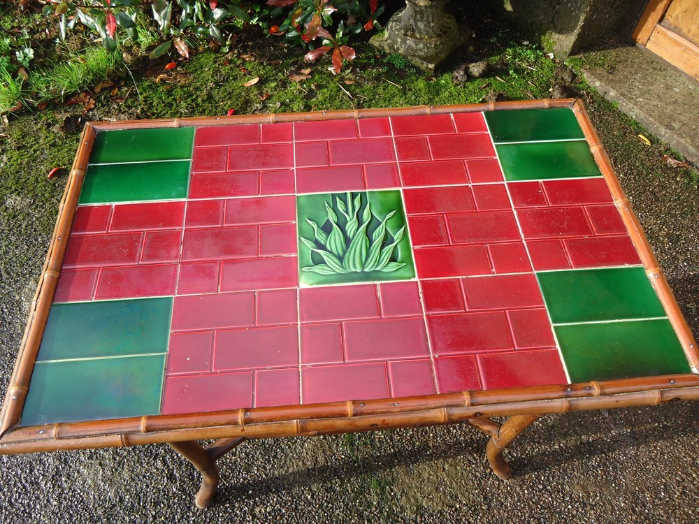 Arts crafts bamboo tiled top table antiques atlas for Bamboo arts and crafts