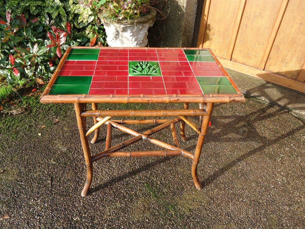 Arts U0026 Crafts Bamboo Tiled Top Table ...