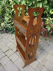 Arts & Crafts book stand with copper plated panels