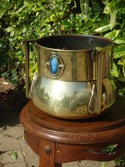 Arts & Crafts brass jardiniere with cabochons