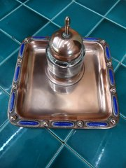 Arts & Crafts copper and enamel inkstand