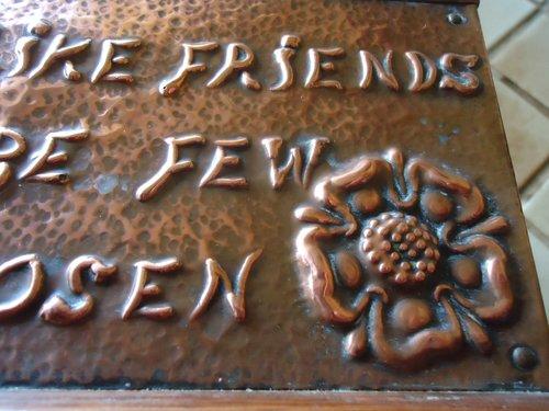 Arts & Crafts copper book trough with motto
