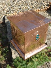 Arts & Crafts copper log box with cabochon