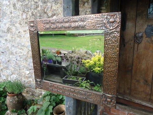 Arts & Crafts copper mirror - Robbie Burns