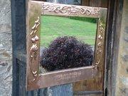 Arts & Crafts copper mirror with motto