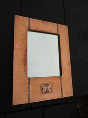 Arts & Crafts copper mirror with butterfly