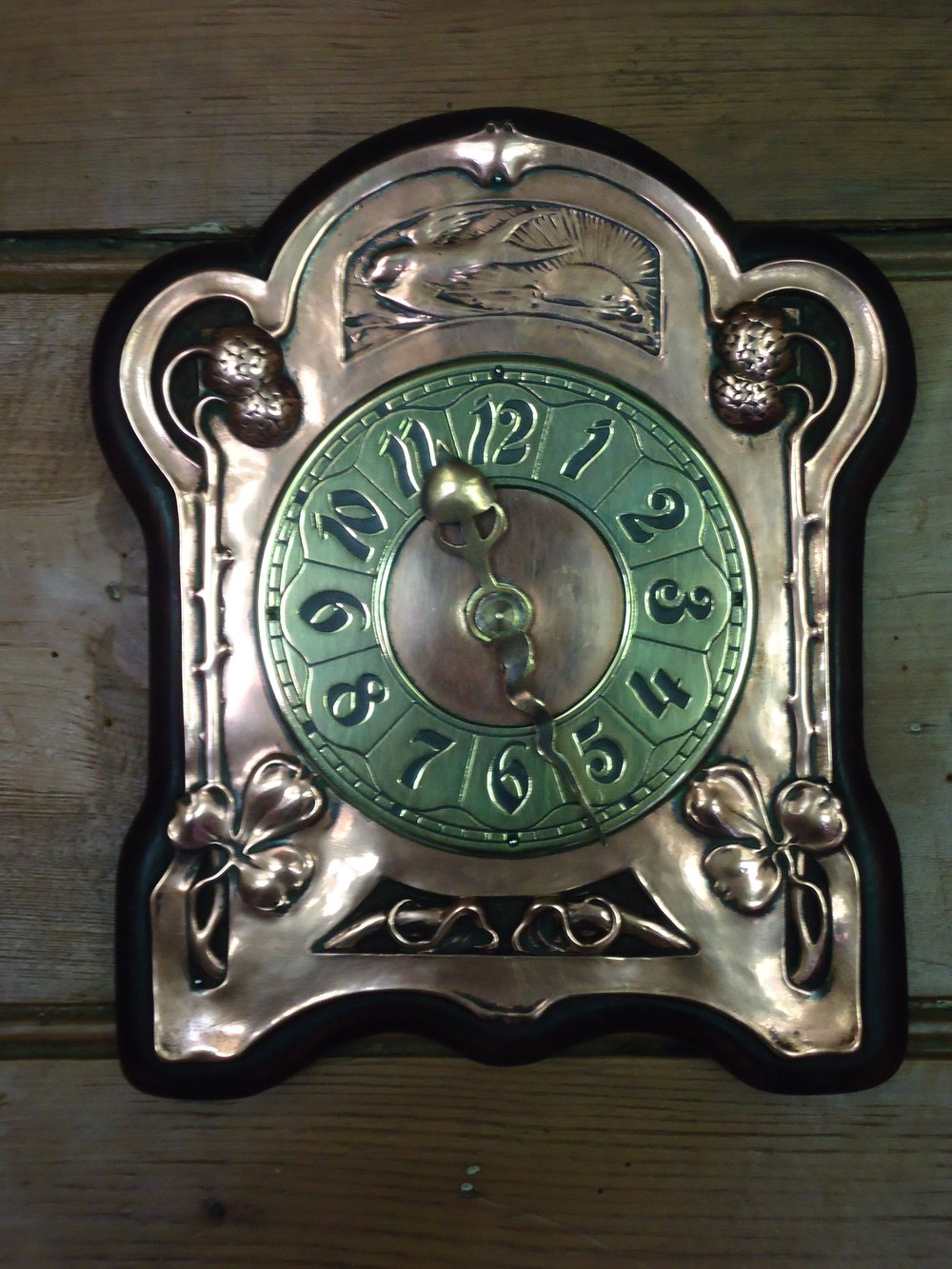 Antiques atlas arts crafts copper wall clock with for Arts and crafts style wall clock