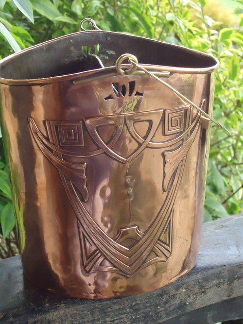 Arts & Crafts copper wine carrier - Karl Deffner