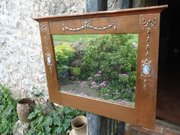 Arts & Crafts copper mirror  with with ceramic plaques