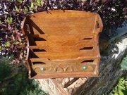 Arts & Crafts letter stationery holder in oak