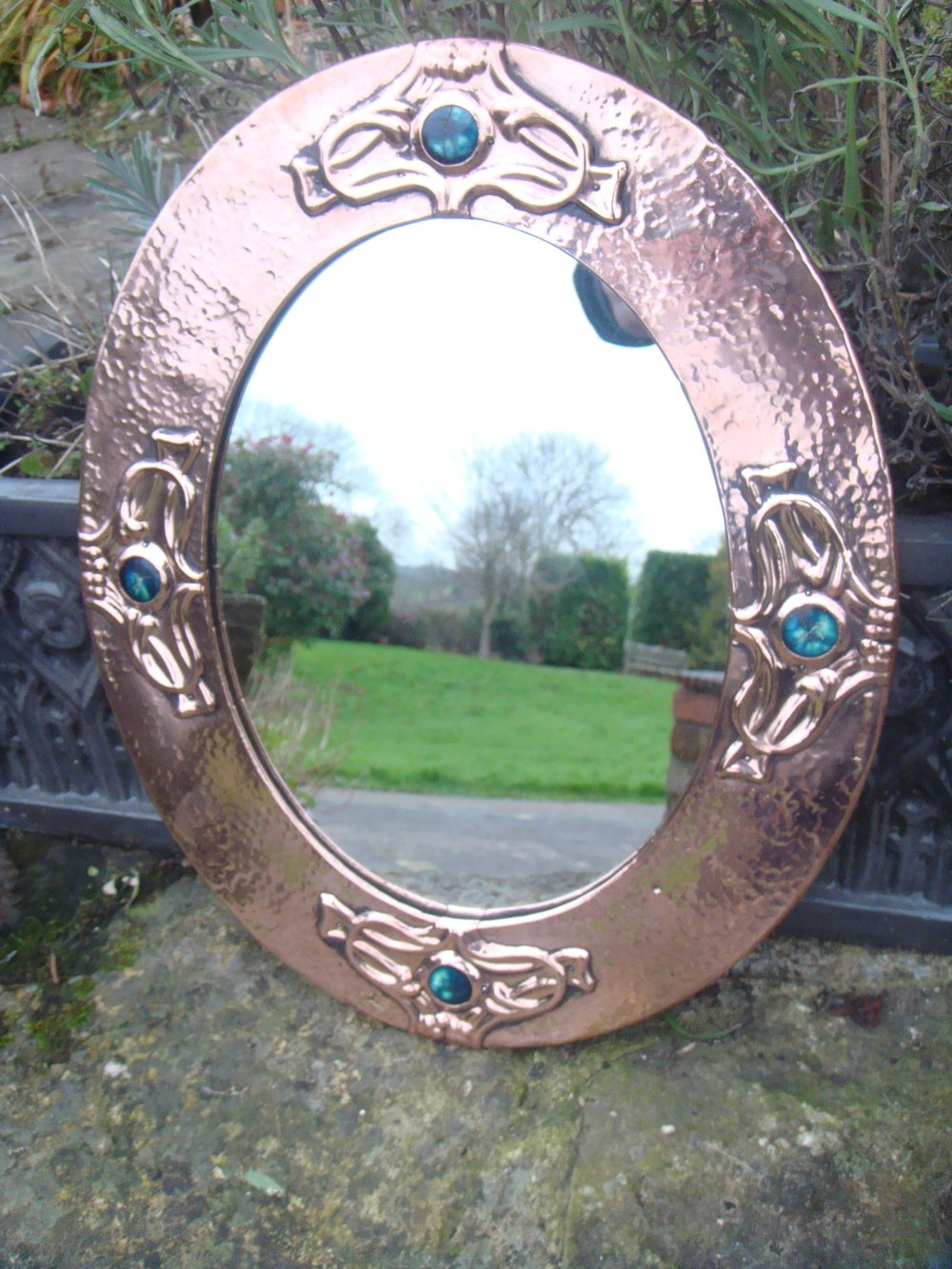Arts and crafts mirrors - Arts Crafts Mirror With Cabochons Liberty