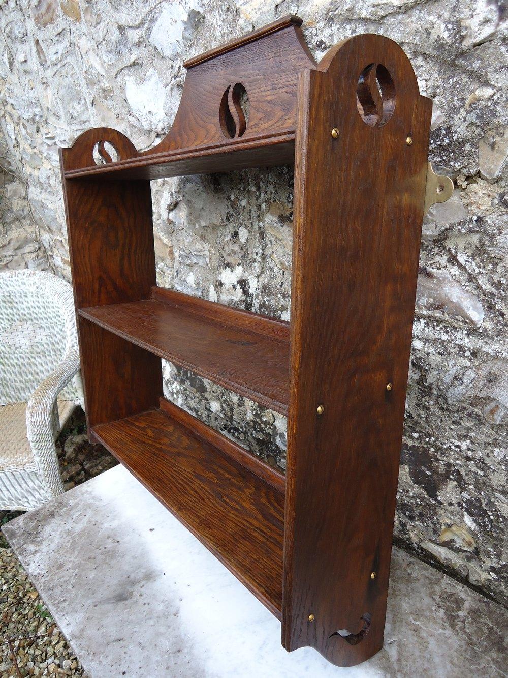 Arts Crafts Oak Shelves Pierced Yin Yang
