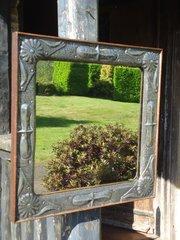 Arts & Crafts pewter mirror
