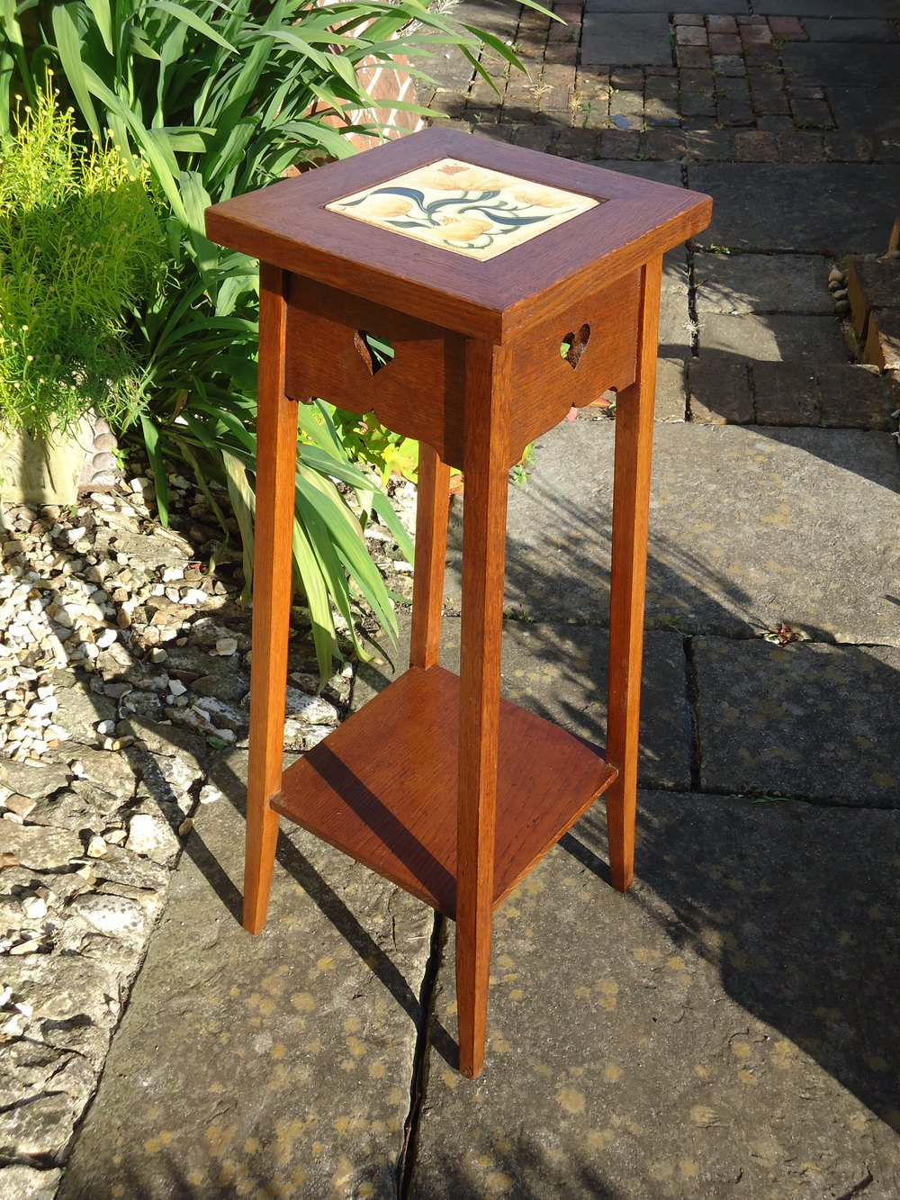 Arts & Crafts Oak Plant Stand With Tile. Liberty ...
