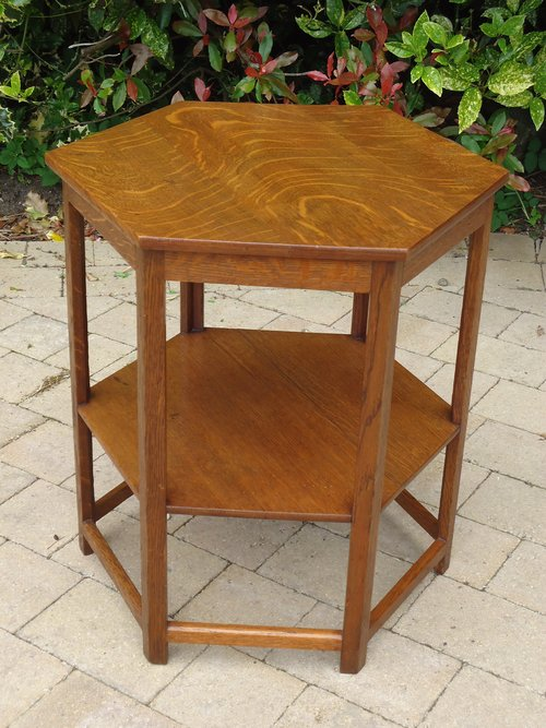 Arts & Crafts two tiered table in oak