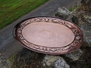 Arts  & Crafts Newlyn copper tray with gallery
