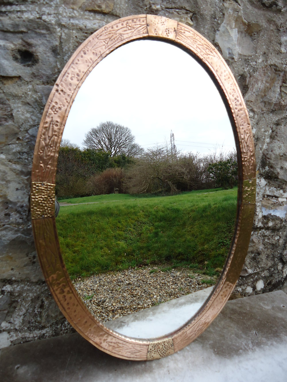 Antiques Atlas Large Arts Amp Crafts Oval Copper Mirror