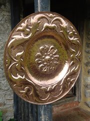 Large Arts & Crafts copper charger. Pearson